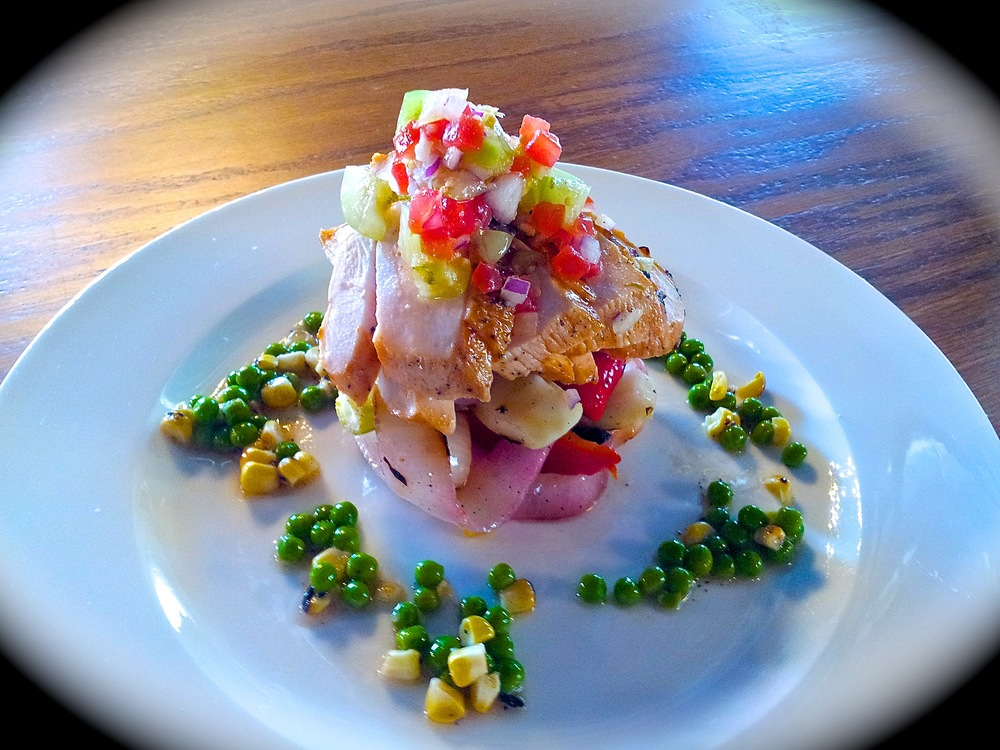 Southern Succotash Salad with BBQ Chicken and Tomatillo Salsa