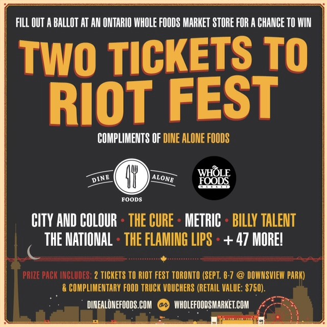WIN Two Tickets to Riot Fest Toronto c/o Whole Foods!